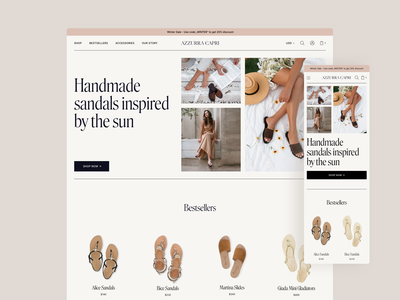 Azzurra Capri - Sandal Store 👡 ecommerce shop store design shoe store sandal design ecommerce design branding typography shop store shopify ecommerce
