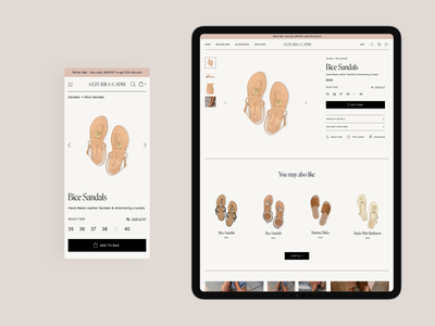 Azzurra Capri - Sandal Store 👡 product page ipad ecommerce shoes store sandals store design ecommerce shop ecommerce design branding store typography shop design shopify ecommerce
