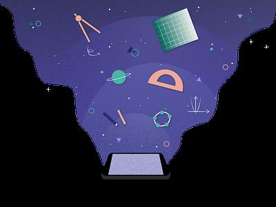 Math and science education platform graphic branding digital art education math science vector illustration