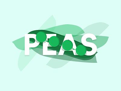 Peas illustration typography drawing vegetables veggies peas illustration