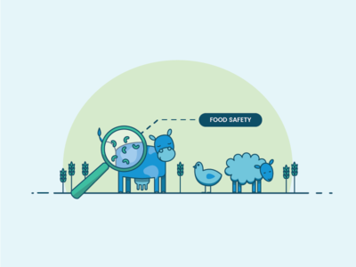 Food Safety Illustration food industry chicken sheep cow animals vector illustration
