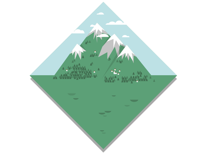 South Tyrol travel landscape alps mountains italy vector graphic illustration