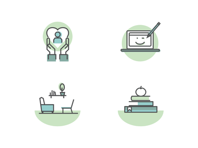 Trauma center ngo company education therapy services landing page branding ui icon illustration
