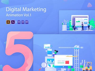 Digital Marketing Animation illustration video gif social media branding ui vector design illustration art marketing after affects animation