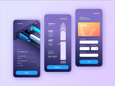 Fasttrain Online Ticketing - Mobile App Concept payment transportation trip app booking ticket train mobile app mobile travel app traveling isometric 2d animation motion graphics after effects landing page ui illustration animation