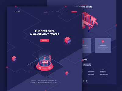 Data Management Landing Page Concept management data website web design mobile isometric 2d animation vector motion graphics after effects landing page ui gif illustration animation