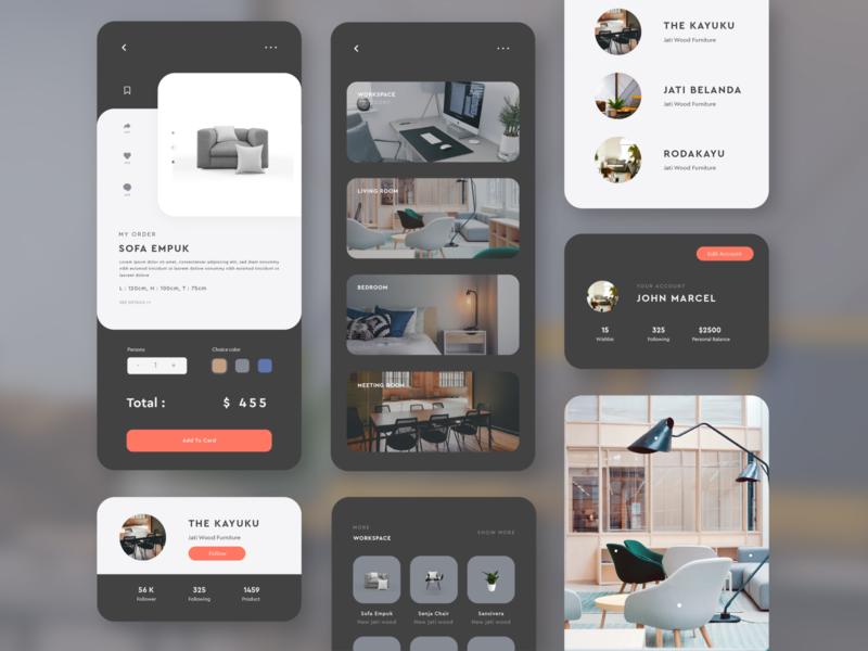 KAYUKU - Furniture Mobile Store e commerce mobile design mockup illustration branding store app furniture ui design mobile app