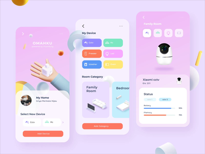 OMAHKU - Smart Home App Design user interface design 3d animation app design smart home after effects ui animation illustration mobile design mobile app 3d