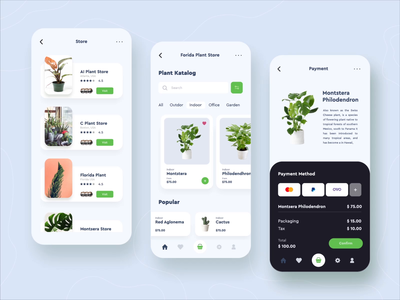 Online Plant Shop Mobile App Design cactus hobby office flower plant montst ux after effects branding design app design mobile design mobile ui animation