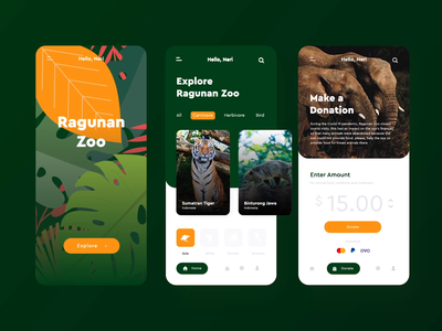 Virtual Zoo Mobile App - Animal Conservation pandemic covid19 virtual zoo interaction design ui design nature wildlife conservation animal app mobile after effects ui illustration animation