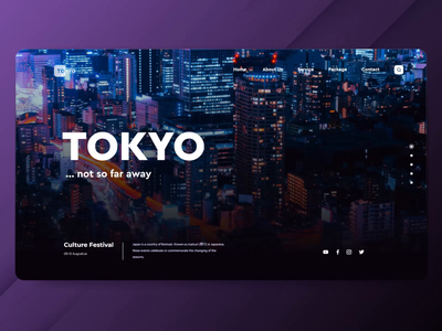 Tokyo Parallax  Website Header holiday culture festival japan landscape city tokyo vacation trip web design website branding design ux motion graphics header after effects landing page ui animation