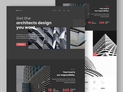 Artchitect - Architecture Landing Page Design clean business building property architecture website web design uidesign ux design motion graphics header after effects landing page ui animation