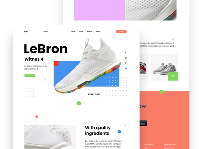 Nike LeBron Landing Page Concept lebron james basketball nike nike shoes website branding 2d animation clean ui app shoes sport design motion graphics after effects landing page uiux ui design web design animation