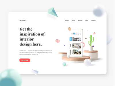 Interior Design Website Header Concept building interior architecture mobile app mobile design ui design web design 3d ux header motion graphics after effects landing page ui illustration animation