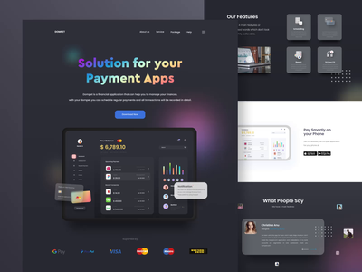 Payment App Dashboard and Web Design card night mode dark mode balance bank app payment dashboard ui  ux mobile design mobile uidesign web design website design motion graphics header illustration ui animation