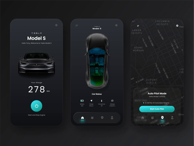 Electric Car App Design - Plainthing Playoff map sport dark smart device smart car go green nature future electric car electric tesla web design playoff ui design design motion graphics after effects mobile ui animation