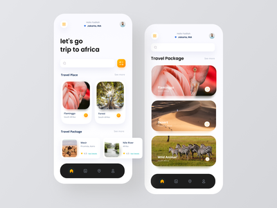 Travel Mobile App - Trip to Africa ticket app booking app wildlife animals conservation adventure travel app design 2d animation motion graphics after effects ui design uiux mobile design mobile app ui animation