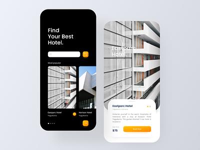 Hotel Book - Mobile App Design travel hotel booking hotel booking app booking ui design app design mobile design mobile app design branding design uiux ui