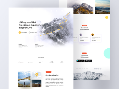 Hiking Landing Page Design nature mountain trip booking hiking traveling travel app app design mobile design web design uiux uidesign ux design header landing page ui
