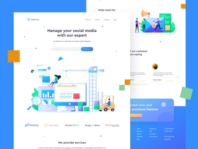 Social Media Management | Landing page management social media website design web design uiux ui design 2d character vector design header landing page illustration ui