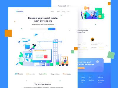 Social Media Management | Landing page management social media website design web design uiux ui design 2d character vector design header landing page illustration ui