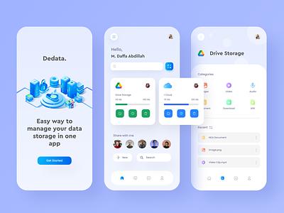 Dedata - Data Storage Management Mobile App file manager management app cloud storage app data management database app design ui design mobile app mobile design ux character 2d animation vector design illustration ui