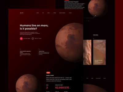 Mars Project Landing Page planet mars elon musk spacex space website webdesign uiux design ui design 3d animation 3d web design 2d animation design motion graphics header after effects landing page animation ui