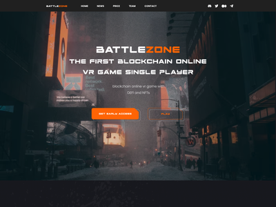 Battlezone - Blockchain VR Game Concept graphic design 3d virtual reality vr online game blockchain cryptocurrency game nfts nft website webdesign uiux motion graphics after effects illustration landing page animation ui