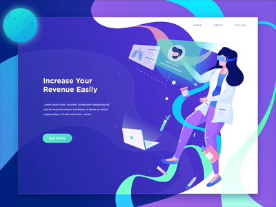 Medical Technology Website virtual reality space girl technology medical design ilustration flat 2d animation isometric vector character motion graphics header landing page after effects ui illustration gif animation