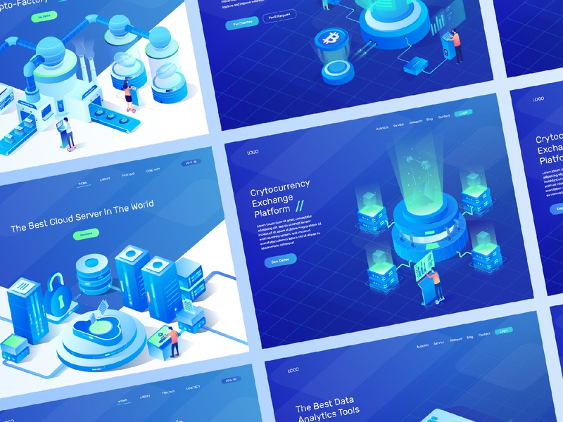 6 Isometric  for Cryptocurrency , Analytic and Data Server server bank data server analytic cryptocurrency ux ui isometric character branding vector design header landing page illustration