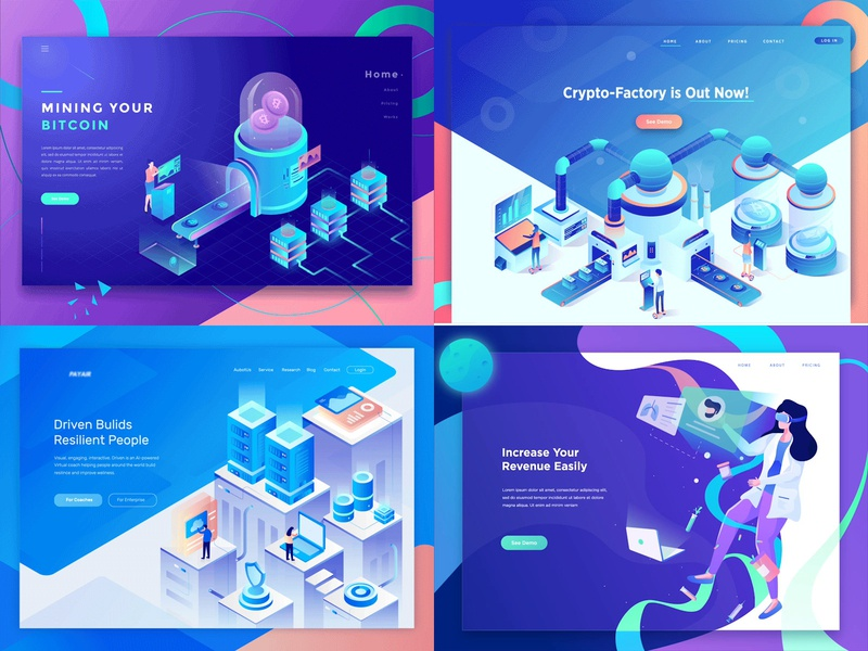 2018 ux space cloud bitcoin ilustration server isometric 2d animation vector character motion graphics header landing page after effects ui gif illustration animation