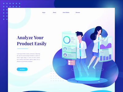Product Analyze Landing Page Animation design vector character motion graphics header landing page after effects ui illustration gif animation