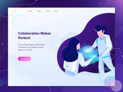 Website Header Animation planet collaboration space flat isometric 2d animation vector character motion graphics header landing page after effects ui illustration gif animation