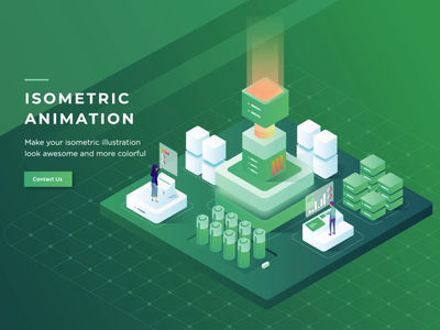 Isometric Header Animation cloud space server design isometric 2d animation vector motion graphics header landing page after effects ui illustration gif animation