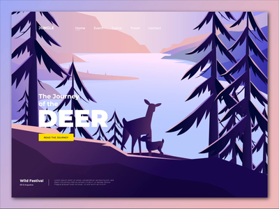 Animal Conservation Landing Page jungle forest deer 2d animation vector character motion graphics header after effects landing page illustration animation animal conservation animal