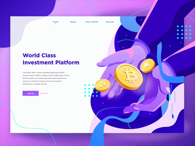World Class Investment Platform - Animation Header bitcoin cryptocurrency flat 2d animation vector motion graphics header after effects landing page ui illustration animation
