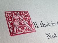 Letterpress Printed Tolkien Quote