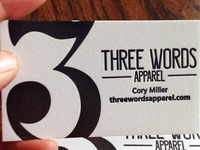 Three Words Apparel Business Cards