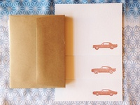 Classic Cars Letterpress Note Cards