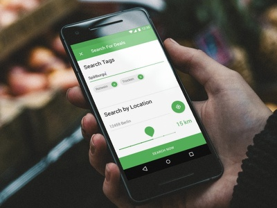 Mobile Search Dialog ui design material green app android