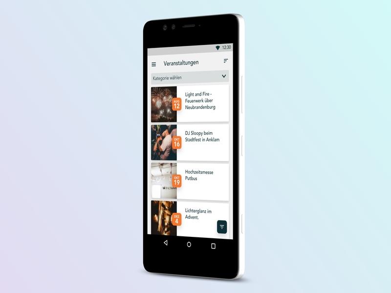 Lokalfuchs App date mockup list events android app design