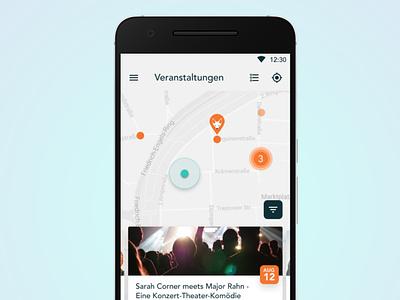 Simple event map with slider material light app design ui android ui design design app