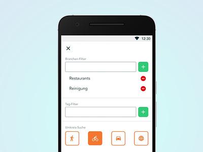Tag and distance filter app design material filter light android ui design design app