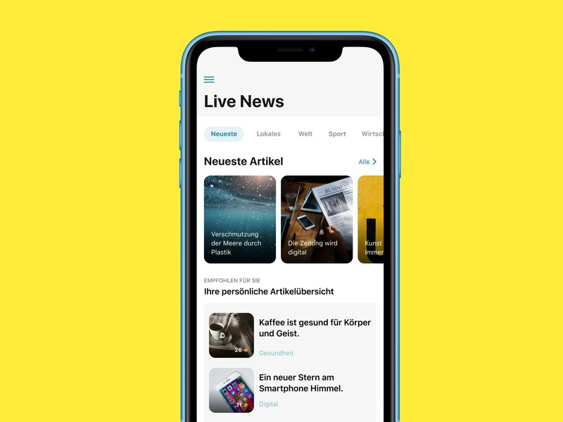 Live News App ui design iphone x ios app stream news