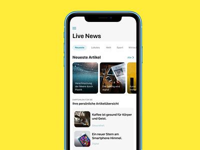 Live News App ui design iphone x ios app stream news