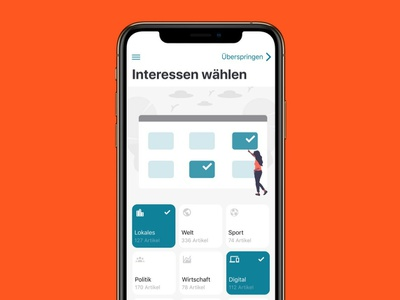 Choose News Interests ui design ios app news