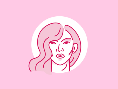 Beauty face women woman beauty logo beauty salon mounth pink hair pink hair face beauty