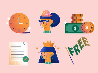 Freelancer Profile Icons sunglasses people illustration shine documents document skills queen brain time freedom free money