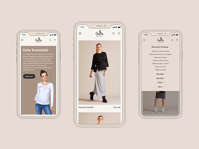 GeBe - Mobile App clothing ecommerce shop mobile app website webdesign clean ux ui