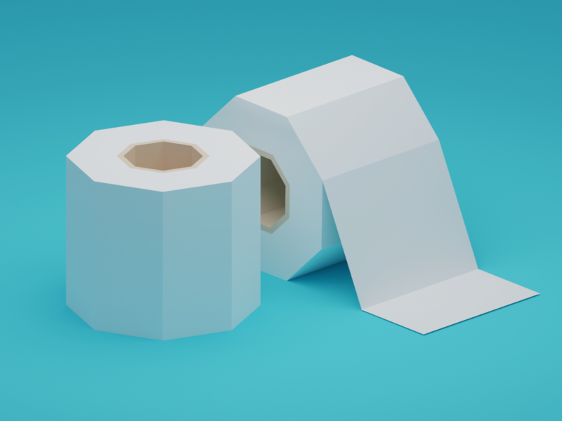 The rarest currency low poly isometric toilet paper 3d